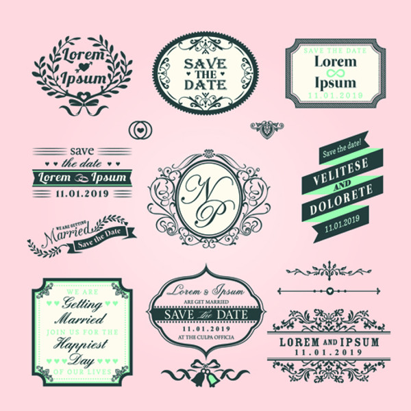 Romantic wedding labels design