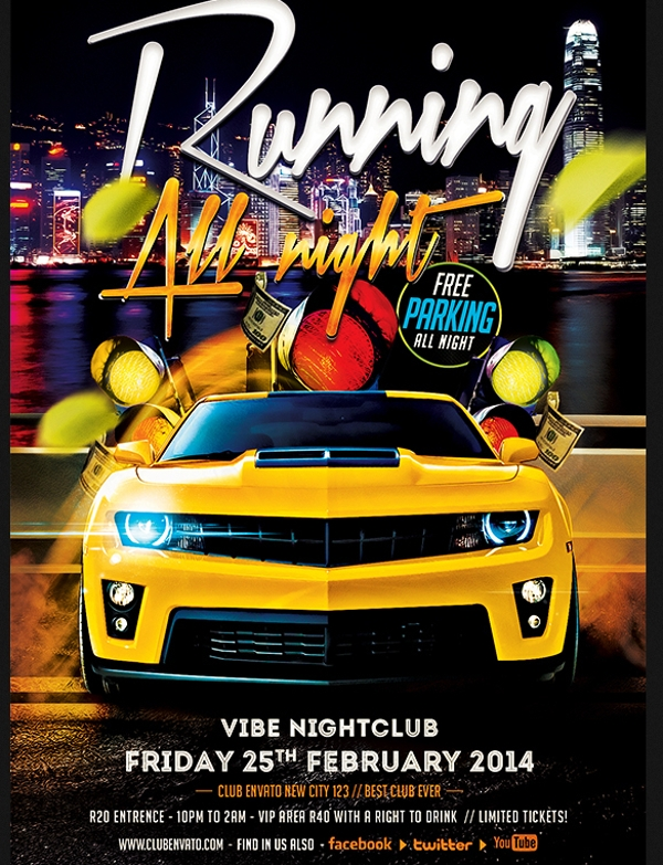 Running all Night Car Show Flyer