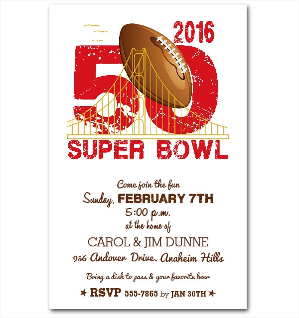 San Francisco Super Bowl 50 Party Invitations