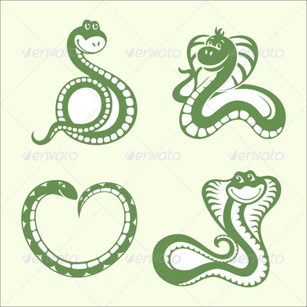 Set of Green Vector Snakes