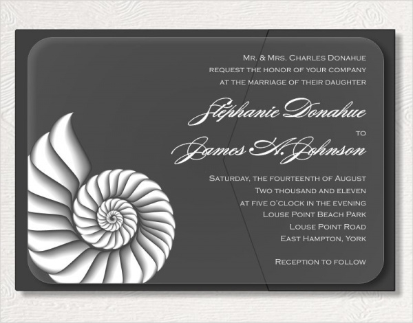 Shell Acrylic Invitation Design