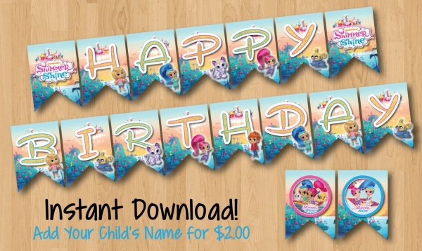 Shimmer and Shine Happy Birthday Banner