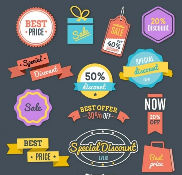 Shopping Retro Colorful Discount Tag