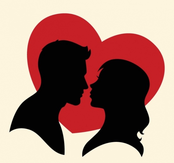 Silhouette Of a Couple and A Red Heart