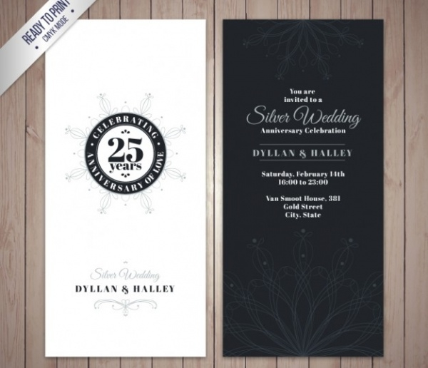 Silver Anniversary Invitation Card