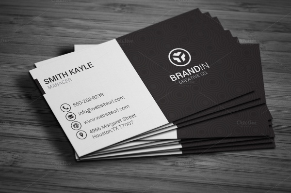 simple black white business card design
