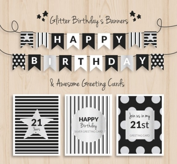 black and silver Birthday banners