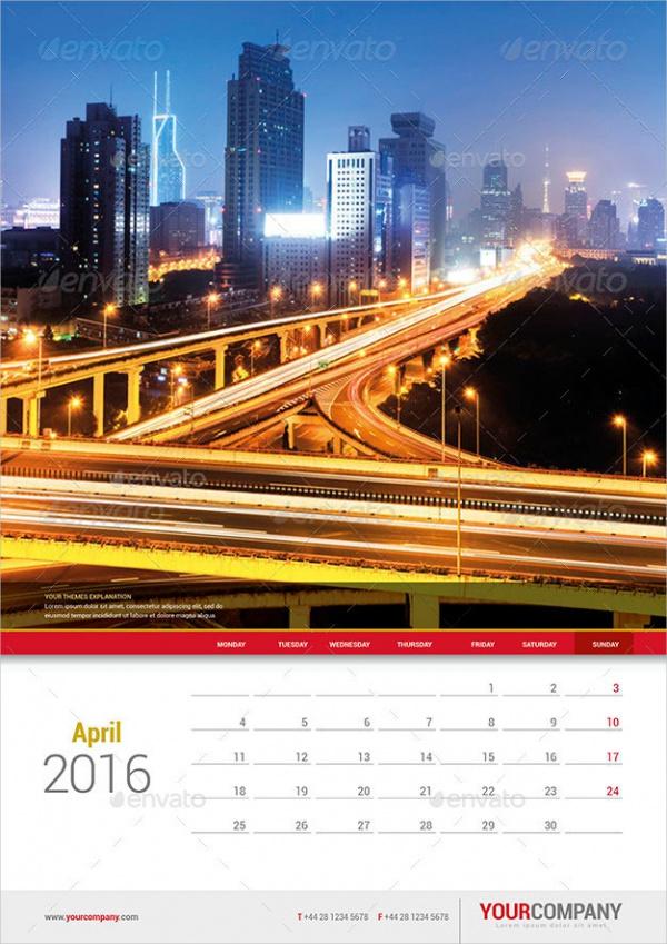 Small Desk Wall Calendar