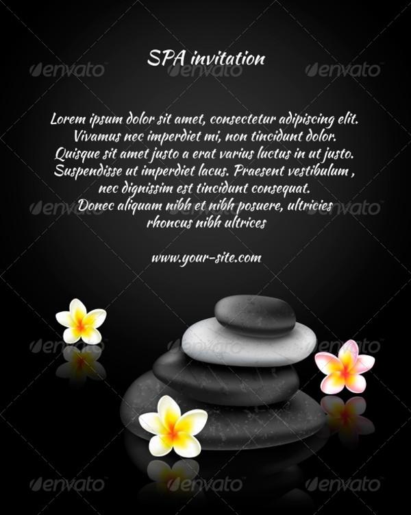 spa party psd invitation card