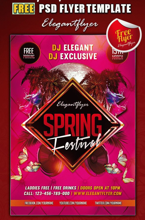 Spring Club and Party Flyer PSD