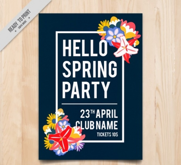 Spring Party Flyer with Cute Landscape