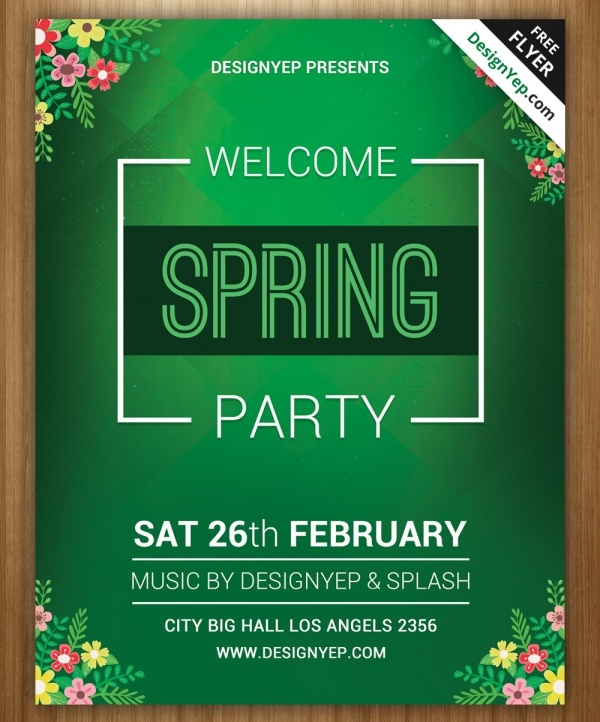 spring welcome party flyer psd template