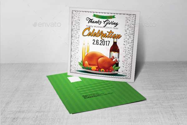 Square Thanksgiving Invitation Postcard