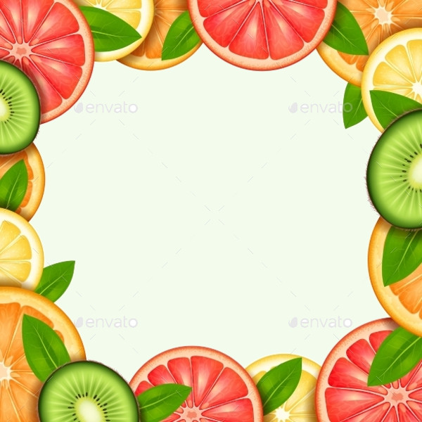 Summer Fruit Frame Illustration