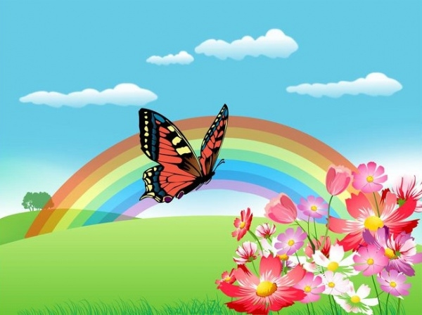 Summer Landscape Rainbow Vector