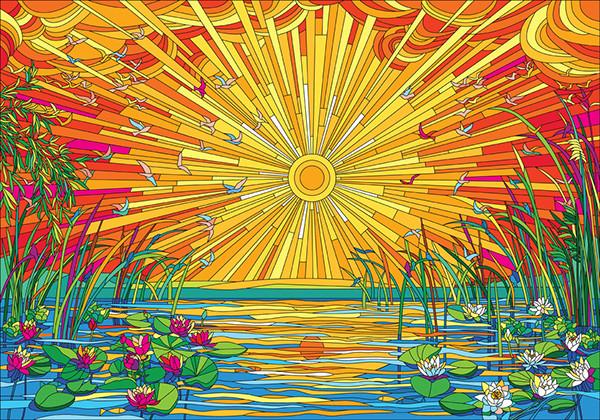 Summer Sunset llustrative Design