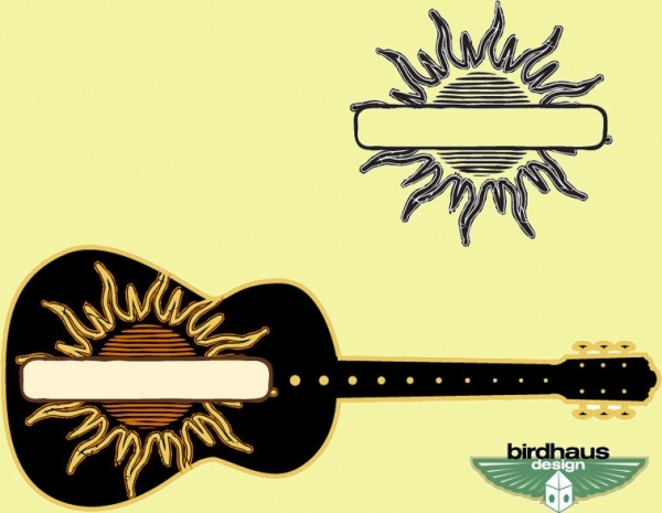 Sun Graphic and Guitar Vector