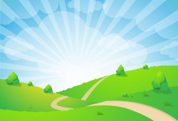 Sunburst Landscape Illustrative Design