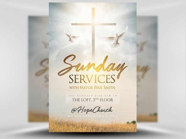 Sunday Church Services Flyer Template