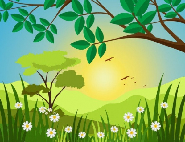 Sunny Landscape Illustration