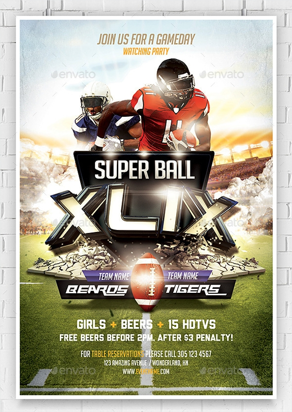 21  super bowl invitation designs