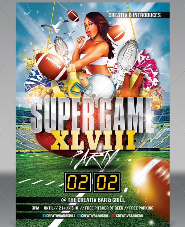 Super Game Football Party Invitation