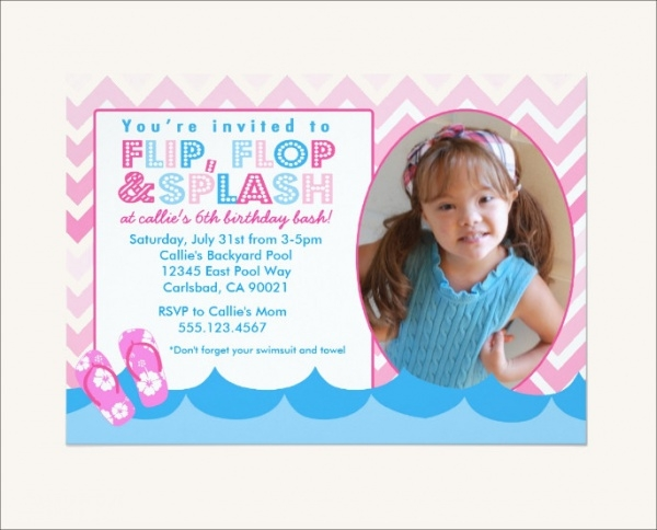swim birthday party invitation design