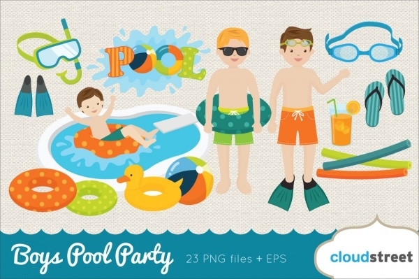 swimming boys party invitation