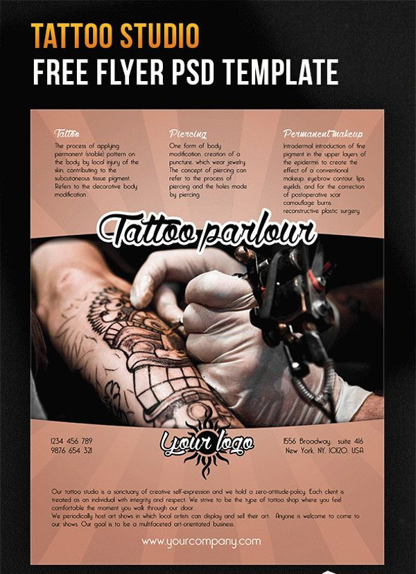 Tattoo studio – Free Flyer PSD