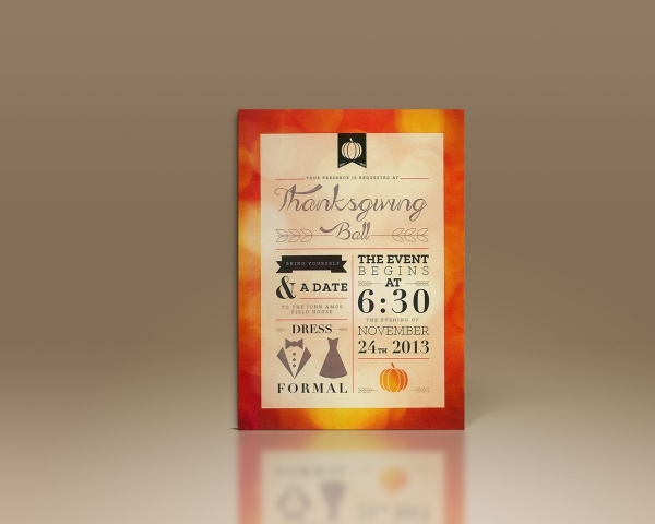 Thanksgiving Ball Invitation Template