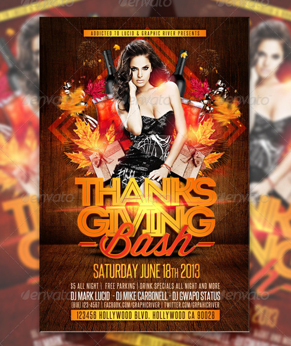 Thanksgiving Bash Club Flyer