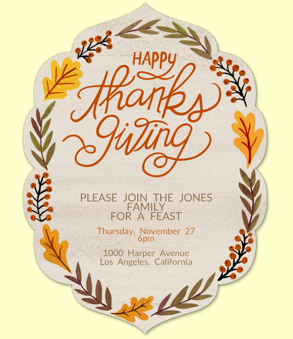 Thanksgiving Foilage Invitation Design