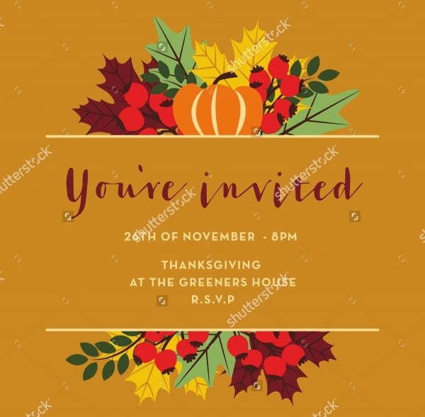 Thanksgiving Invitation Card with Pumpkins