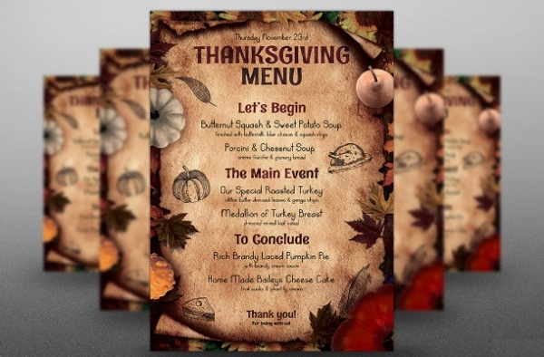 Thanksgiving Menu PSD Flyer