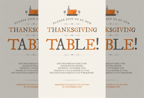 Thanksgiving Table Printable Invitation Template