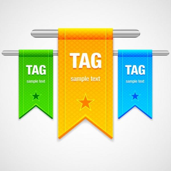 Three Colorful Ribbon Tags