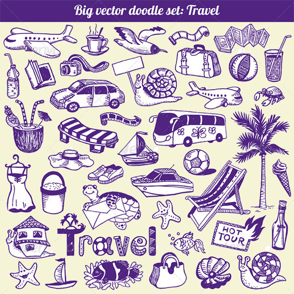 Travel Doodle Graphics Vector