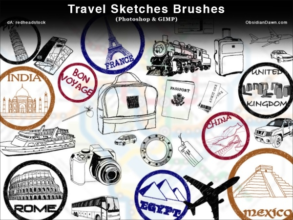 Travel Sketches Photoshop and GIMP Brushes