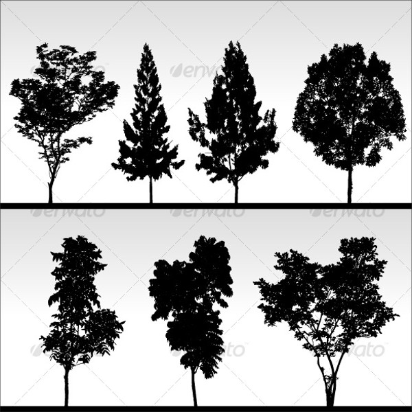 Tree Silhouettes Free Vectors