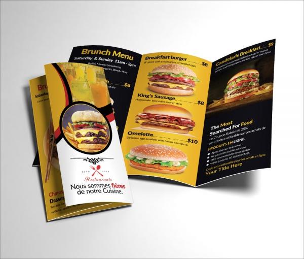 Tri Fold Healthy Food Menu Brochure