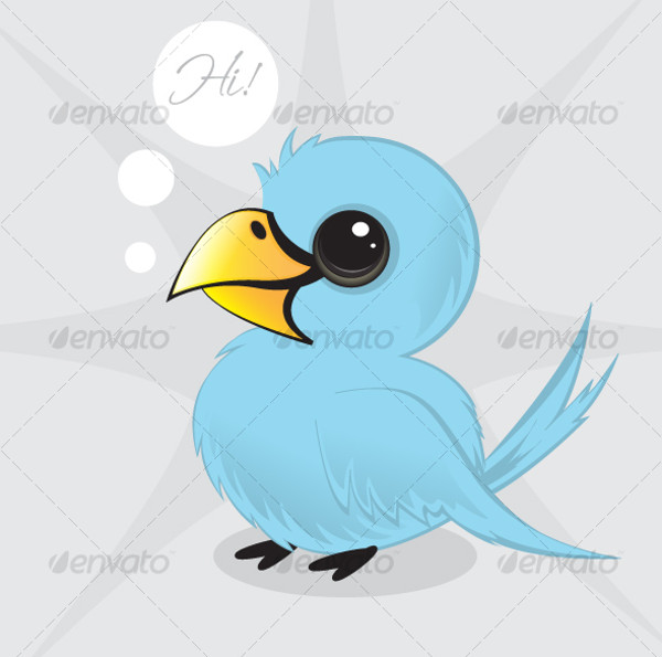 Twitter Style Bird Illustration