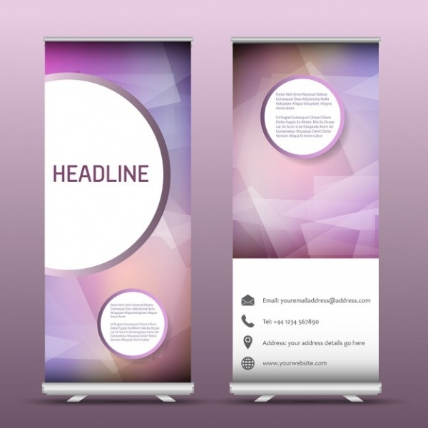 Two Advertising Roll Up Banner Abstract Design