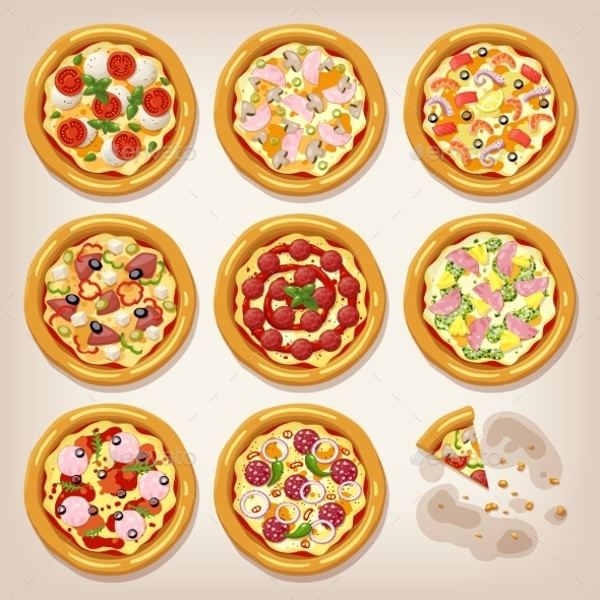 Various Pizzas Vector Collection.