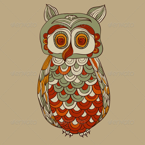 Vector Bizarre Funky Owl