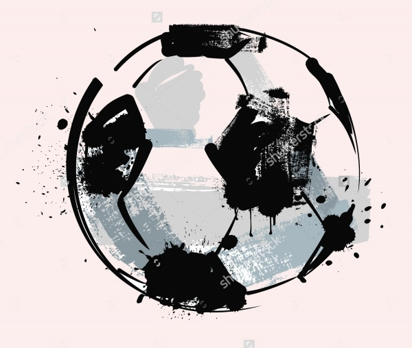 Vector Black Grunge Soccer Ball