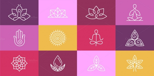 Vector Linear Yoga Tranparent Icons