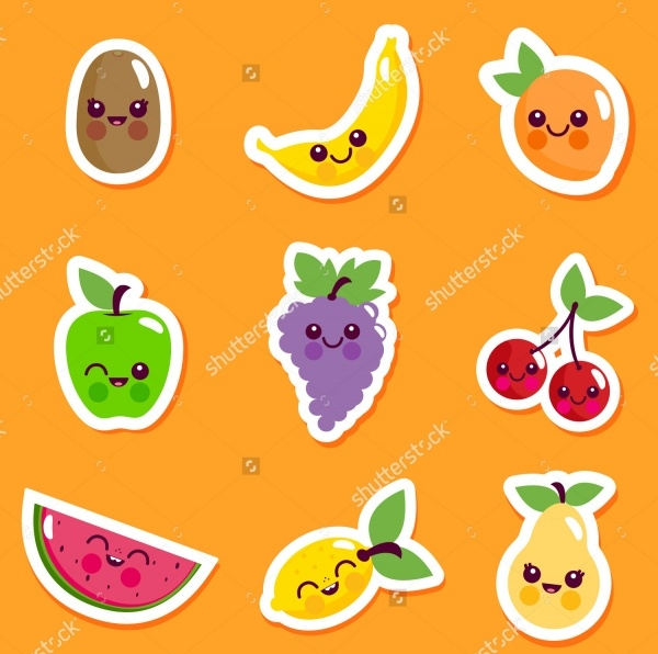 Vector illustration ruit characters sticker