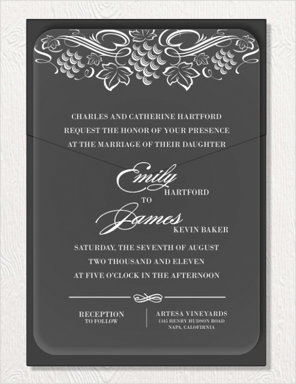 Vine Black Acrylic Invitation