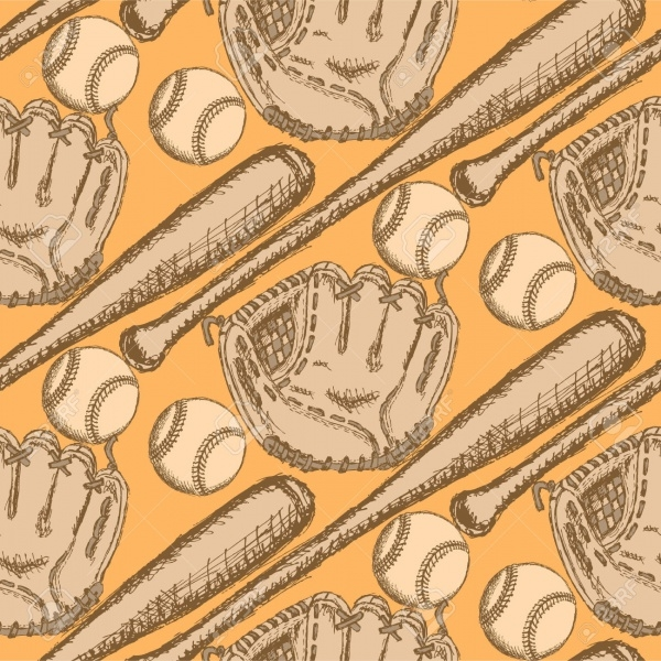 Vintage Baseball Grungy Pattern