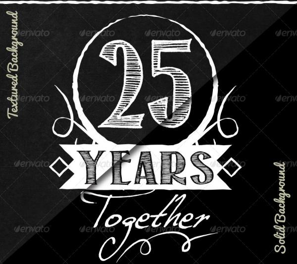 Vintage Chalkboard Anniversary Invitation Card